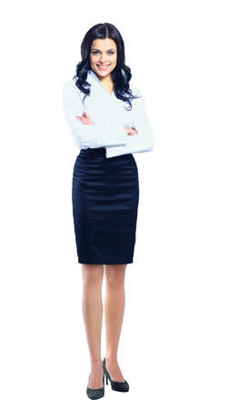 Photo pour Business woman standing in full length isolated on white background - image libre de droit