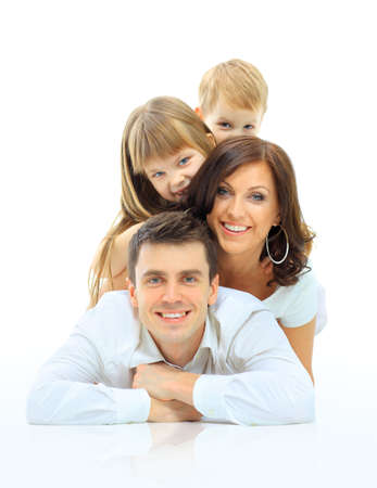 Foto de Happy family smiling. Isolated over a white background - Imagen libre de derechos