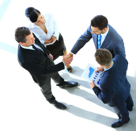 Photo for Top view of a successful business leaders finalizing a deal at office - Royalty Free Image