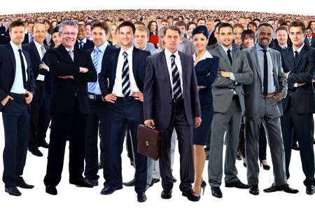 Foto de business team formed of young businessmen and businesswomen standing over a white background - Imagen libre de derechos