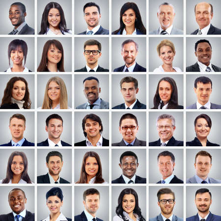 Photo for success concept - collage with many business people portraits - Royalty Free Image