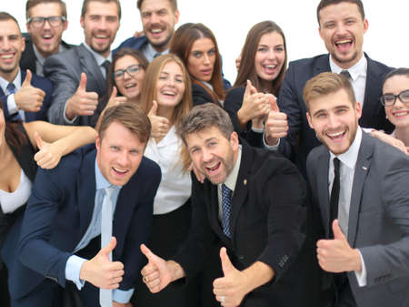 Photo for Portrait of smiling happy business people against white background celebrating - Royalty Free Image