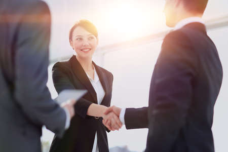 Photo for Two professional business people shaking hands - Royalty Free Image
