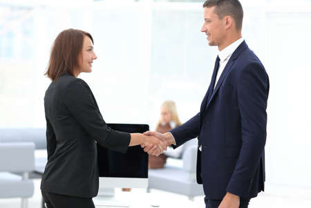 Photo for handshake business partners at the negotiating table. - Royalty Free Image
