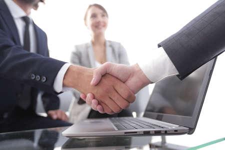 Photo for closeup.handshake financial partners i - Royalty Free Image