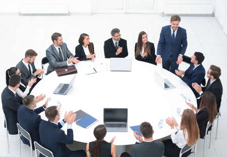Photo for business people applauding speaker at a business meeting. - Royalty Free Image