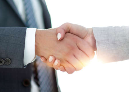 Photo for Businessmen handshaking after successful business meeting - Royalty Free Image