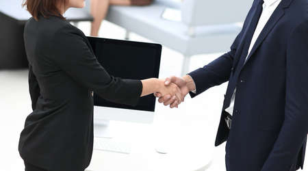 Photo for handshake business partners at the negotiating table. photo with copy space. - Royalty Free Image