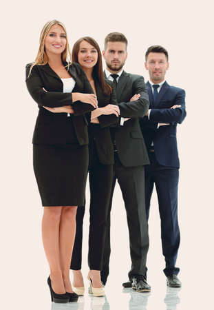 Foto de in full growth .confident business team.isolated on white - Imagen libre de derechos