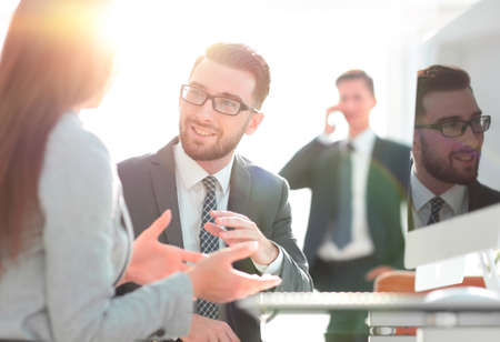 Photo for Confident man talking to his interviewer during a job interview - Royalty Free Image