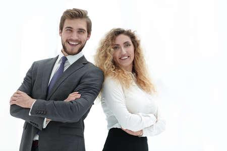 Foto de portrait of two leading specialists of the company. - Imagen libre de derechos