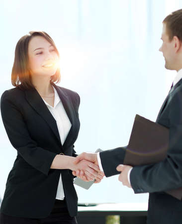 Photo for Negotiating business,Image business woman handshake - Royalty Free Image