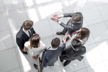 Photo for top view. a group of business people discussing problems. - Royalty Free Image