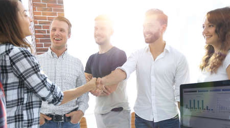 Photo for business handshake in modern office - Royalty Free Image