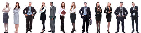 Photo pour group of successful business people isolated on white - image libre de droit
