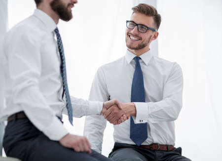 Photo for close up.business handshake of business people on a light background - Royalty Free Image