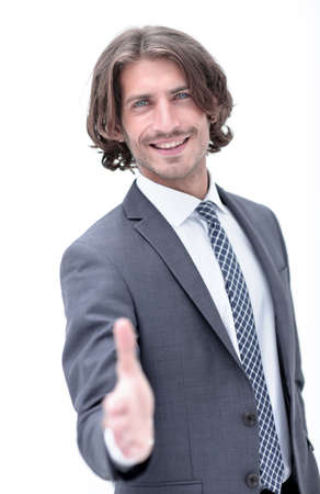Photo for Businessman offering handshake to you on white background - Royalty Free Image