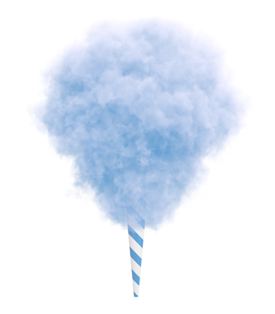 Photo for Blue cotton candy on a striped stick isolated on white background. - Royalty Free Image