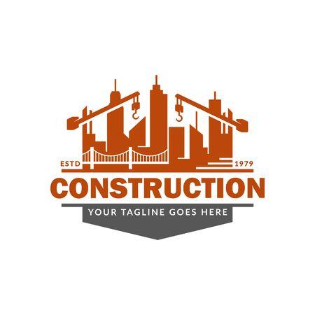 Illustration pour Construction logo template, suitable for construction company brand, vector format and easy to edit - image libre de droit