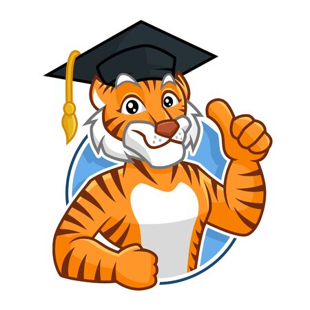 Illustration pour Education Tiger mascot vector in isolated white background, tiger character design, cartoon style - image libre de droit