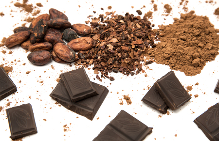 Photo for Cocoa beans, ground cocoa, cocoa powder and pieces of chocolate - Royalty Free Image