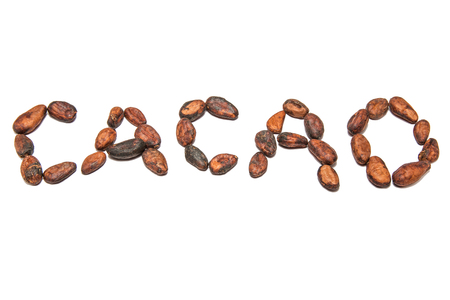 Photo for the word cacao written with cocoa beans - Royalty Free Image