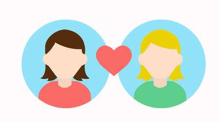Ilustración de Vector Isolated Illustration of Two Girls Love Icon, Girls Match - Imagen libre de derechos