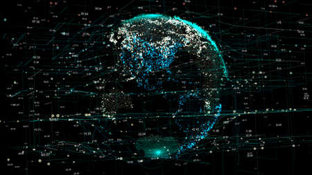 Foto für Planet Earth in the global futuristic cyber-network with connection lines around the globe. The neural artificial grid represents data and cryptocurrency exchange in business and finance worldwide - Lizenzfreies Bild
