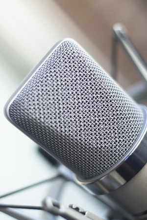 Photo for Large diaphragm condenser studio recording voice microphone to record professional voiceovers, singing and dubbing - Royalty Free Image