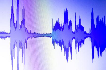 Photo for Audio sound wave studio editing computer program screen - Royalty Free Image