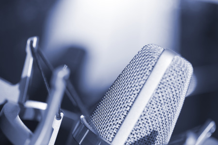 Photo for Sound recording studio large diaphragm voice microphone for voiceover, singing and instruments. - Royalty Free Image