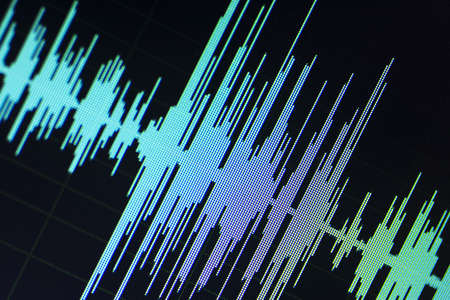 Photo for Audio sound wave studio editing computer program screen showings sounds on screen from vocal recording of voiceover. - Royalty Free Image
