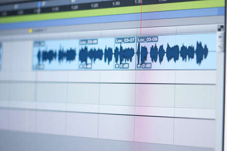 Photo for Recording studio audio computer editing mixing program sound controls for music and voice production. - Royalty Free Image