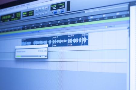 Photo pour Recording studio audio computer editing mixing program sound controls for music and voice production. - image libre de droit