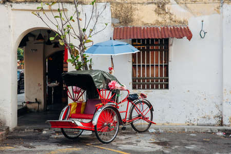 Photo for Rickshaw tricycle at the street of the old town, George Town, Penang, Malaysia. - Royalty Free Image