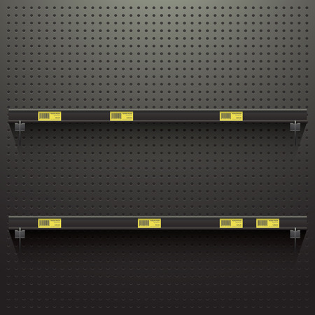 Illustration pour Dark Pegboard in workshop Background with shelves and price tags - image libre de droit