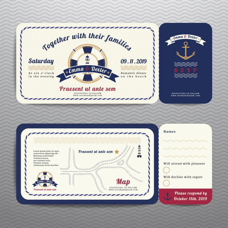 Illustration pour Nautical ticket wedding invitation and RSVP card  with anchor rope design on wave background - image libre de droit