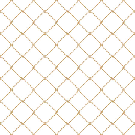 Illustration pour Nautical rope seamless tied gold fishnet pattern on white background - image libre de droit