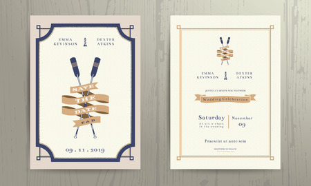 Illustration pour Vintage nautical twin paddles ribbon wedding invitation card template on wood background - image libre de droit