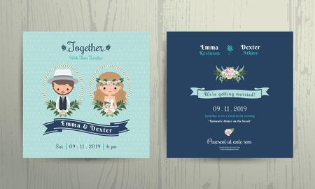 Illustration for Wedding invitation card beach theme cartoon bride and groom portrait on wood background - Royalty Free Image