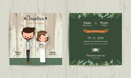 Foto de Wedding invitation card cartoon hipster bride and groom on wood background - Imagen libre de derechos