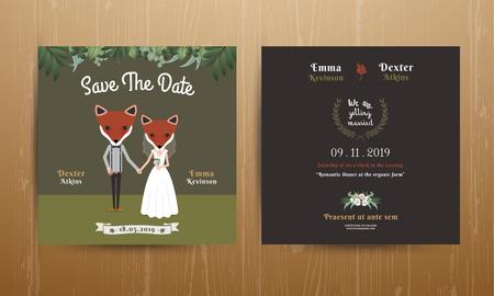 Animal bride and groom cartoon wedding invitation card on wood background