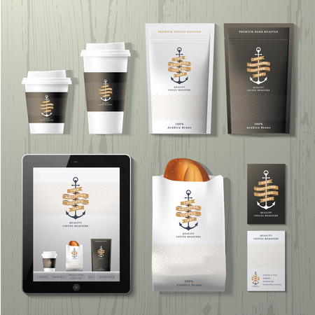 Illustration for The anchors coffee shop corporate identity template design set on wood background - Royalty Free Image
