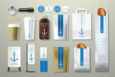 Foto de Blue anchors coffee shop corporate identity template design set on wood background - Imagen libre de derechos