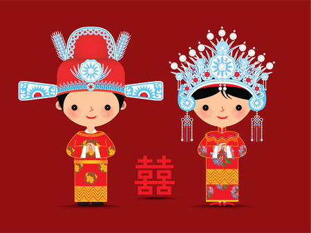 Photo pour Chinese bride and groom cartoon wedding with double happiness symbol - image libre de droit