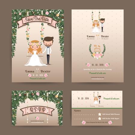Ilustración de Rustic wedding cartoon bride and groom couple invitation RSVP set - Imagen libre de derechos