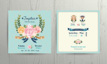 Ilustración de Floral roses wreath wedding cartoon bride and groom couple invitation card on net background - Imagen libre de derechos