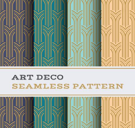 Illustration pour Art Deco seamless pattern with 4 colours background - image libre de droit