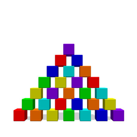 Illustration for Pyramid from toy building blocks.Isolated on white background. 3d Vector colorful illustration.Front view. - Royalty Free Image