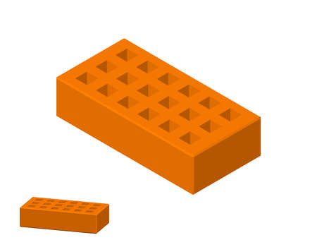 Illustration pour Perforated brick. Isolated on white background. 3D Vector illustration. Isometric projection. - image libre de droit